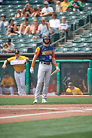 Cody Thomas (16) of the Las Vegas Aviators at bat against the Salt Lake Bees at Smith's Ballpark on July 25, 2021 in Salt Lake City, Utah. The Aviators defeated the Bees 10-6. (Stephen Smith/Four Seam Images)