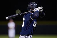 Stephen Reid (23) of the Georgia Tech Yellow Jackets at bat against the Virginia Tech Hokies at English Field on April 16, 2021 in Blacksburg, Virginia. (Brian Westerholt/Four Seam Images)