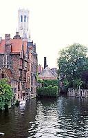 Bruges: Canal & Belfry.  Photo '87.