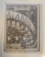 BNPS.co.uk (01202 558833)<br /> Pic: TheCotswoldAuctionCompany/BNPS<br /> <br /> Pictured: A poster for the performance of 'Aladdin' at Stalag Luft in January 1943.<br /> <br /> A remarkable cache of rarely seen photos capturing life inside the Great Escape PoW camp has been discovered in a barn.<br /> <br /> The images, taken at Stalag Luft III in 1942 and 1943, show Allied prisoners dressed as women doing amateur-dramatics and an action-packed sports day.<br /> <br /> They donned bikinis and other extravagant outfits as they entertained their camp mates with performances of 'Aladdin' and 'Girls, Girls, Girls'.<br /> <br /> Hundreds of PoWs perched on roofs to watch the sports day which featured sprint races, the long jump, the high jump and a discus competition.