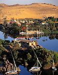 EGY, Aegypten, Nil bei Assuan mit Amun-Insel, im Hintergrund Club Mediterranee | EGY, Egypt, Assuan: river Nile with Amun island, at background Club Mediterranee