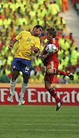 Germany's Lewis Holtby (10) battle for a header against Brazil's Boquita (18) during the FIFA Under 20 World Cup Quarter-final match at the Cairo International Stadium in Cairo, Egypt, on October 10, 2009. Germany lost 2-1 in overtime play.
