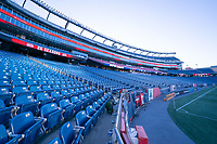 FOXBOROUGH, UNITED STATES - AUGUST 20: Empty stadium at the start of the first post COVID home game for New England during a game between Philadelphia Union and New England Revolution at Gilette on August 20, 2020 in Foxborough, Massachusetts.