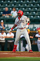 Clearwater Threshers left fielder Cornelius Randolph (2) at bat during a game against the Bradenton Marauders on April 18, 2017 at LECOM Park in Bradenton, Florida.  Clearwater defeated Bradenton 4-2.  (Mike Janes/Four Seam Images)