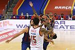 Turkish Airlines Euroleague 2020/2021. <br /> Regular Season-Round 9.<br /> FC Barcelona vs Olympiacos Piraeus: 88-96.<br /> Georgios Printezis vs Nikola Mirotic.