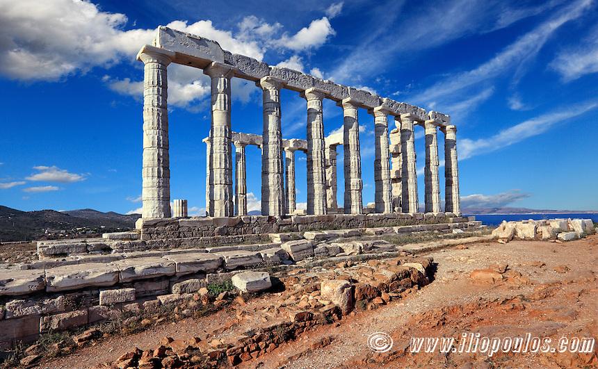 The temple of Poseidon (448-440 B.C.) in Sounio, Greece