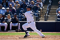 New York Yankees Mike Ford (72) bats during a Spring Training game against the Toronto Blue Jays on February 22, 2020 at the George M. Steinbrenner Field in Tampa, Florida.  (Mike Janes/Four Seam Images)