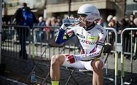 Alexander Kristoff (NOR/Katusha) waiting for his TT<br /> <br /> 3 Days of De Panne 2015<br /> stage 3b: De Panne-De Panne TT