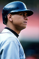 Alex Rodriguez of the Seattle Mariners at Anaheim Stadium in Anaheim,California during the 1996 season. (Larry Goren/Four Seam Images)