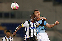 Calcio, Serie A: Lazio vs Udinese. Roma, stadio Olimpico, 13 settembre 2015.<br /> Udinese's Emmanuel Badu, left, and Lazio's Sergej Milinkovic-Savic jump for the ball during the Italian Serie A football match between Lazio and Udinese at Rome's Olympic stadium, 13 September 2015.<br /> UPDATE IMAGES PRESS/Isabella Bonotto