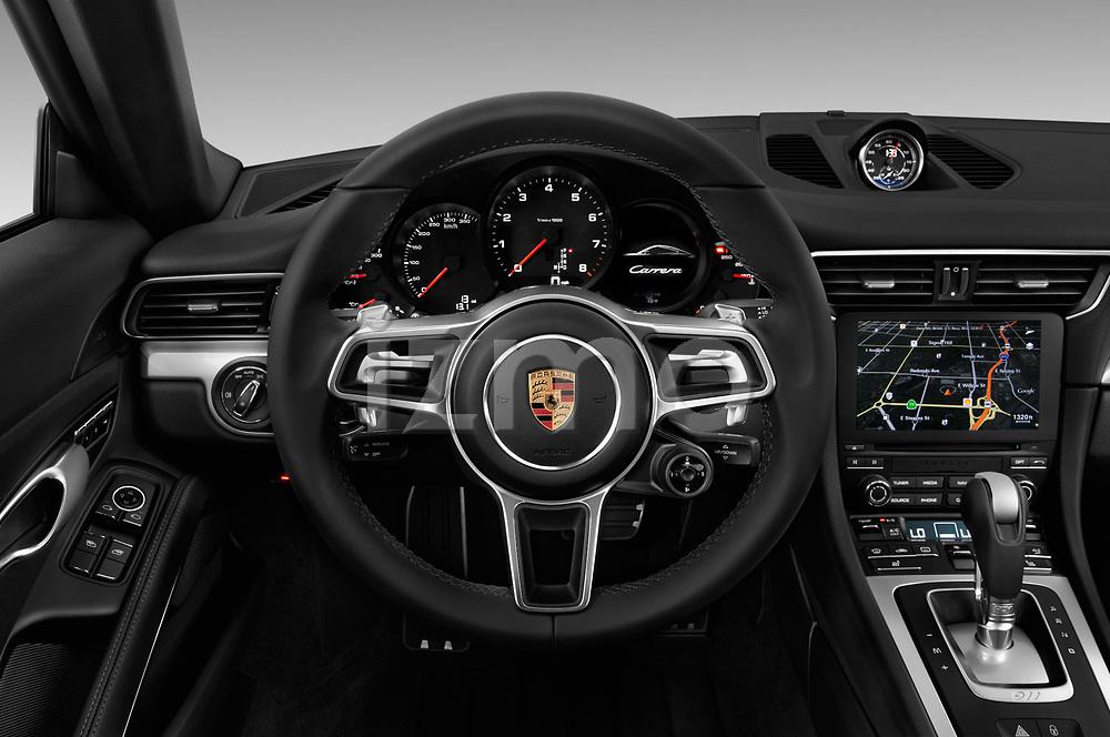 Car pictures of steering wheel view of a 2018 Porsche 911 Carrera 2 Door Coupe