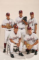 1 December 2005: Baseball cover shoot for the media guide. Mark Marquess, Matt Manship, Chris Lewis, Chris Minaker, and John Hester.