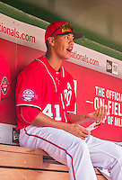 21 June 2015: Washington Nationals pitcher Joe Ross watches play from the dugout during a game against the Pittsburgh Pirates at Nationals Park in Washington, DC. The Nationals defeated the Pirates 9-2 to sweep their 3-game weekend series, and improve their record to 37-33. Mandatory Credit: Ed Wolfstein Photo *** RAW (NEF) Image File Available ***