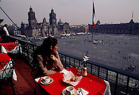 Diner looks over the El Zocalo and the Metropolitan Cathedral. The balcony overlooks the site of Aztec ruins, a 16th century cathedral (Metropolitana), the Mexican capital government buildings and palace, and also scene of most political demonstrations today. Mexico City's approximately 20 million people has extremes including the highest culture and some of the worst crime in the world.
