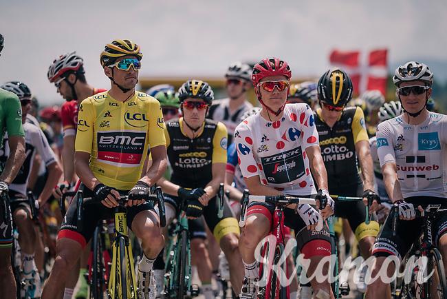 Green Peter Sagan (SVK/Bora-Hansgrohe), yellow Greg Van Avermaet (BEL/BMC) & polka dotted Tom Skujins (LAT/Trek Segafredo) at the start line; ready to roll<br /> <br /> Stage 10: Annecy > Le Grand-Bornand (159km)<br /> <br /> 105th Tour de France 2018<br /> ©kramon