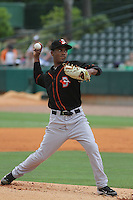Delmarva Shorebirds pitcher Miguel Chalas #43 on the mound during a game against the Charleston Riverdogs at Joseph P. Riley Jr. Park on May 6, 2012 in Charleston, South Carolina. Charleston defeated Delmarva by the score of 8-2. (Robert Gurganus/Four Seam Images)