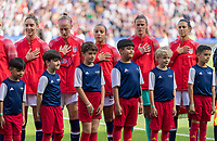 PARIS,  - JUNE 16: Morgan Brian #6, Becky Sauerbrunn #4, Mallory Pugh #2,Alyssa Naeher #1, and Carli Lloyd #10 stand for the national anthem during a game between Chile and USWNT at Parc des Princes on June 16, 2019 in Paris, France.