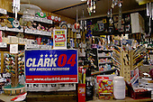 Epping, New Hampshire.January 24, 2004.USA..Fecteau's Country Store with a sign for General Wesley Clark who is for the Democratic Presidenial Primary.