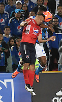 BOGOTA - COLOMBIA - 05 - 02 - 2017: Harold Mosquera (Der.) jugador de Millonarios disputa el balón con Luis Arias (Izq.) jugador de Deportivo Independiente Medellin, durante partido de la fecha 1 entre Millonarios y Deportivo Independiente Medellin, de la Liga Aguila I-2017, jugado en el estadio Nemesio Camacho El Campin de la ciudad de Bogota.  / Harold Mosquera (R) player of Millonarios vies for the ball with Luis Arias (L) player of Deportivo Independiente Medellin, during a match between Millonarios and Deportivo Independiente Medellin, for the date 1 of the Liga Aguila I-201/ at the Nemesio Camacho El Campin Stadium in Bogota city, Photo: VizzorImage / Luis Ramirez / Staff.