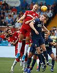 04.08.2019 Kilmarnock v Rangers: Nikola Katic and Connor Goldson attack a corner kick