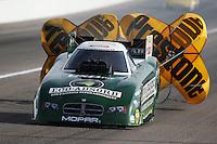 Apr. 6, 2013; Las Vegas, NV, USA: NHRA funny car driver Jeff Arend during qualifying for the Summitracing.com Nationals at the Strip at Las Vegas Motor Speedway. Mandatory Credit: Mark J. Rebilas-