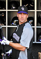 9 July 2011: Colorado Rockies outfielder Seth Smith selects a bat prior to action against the Washington Nationals at Nationals Park in Washington, District of Columbia. The Rockies edged out the Nationals 2-1 to win the second game of their 3-game series. Mandatory Credit: Ed Wolfstein Photo