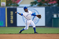 Bluefield Blue Jays second baseman Jose Theran (16) throws to first base during a game against the Bristol Pirates on July 26, 2018 at Bowen Field in Bluefield, Virginia.  Bristol defeated Bluefield 7-6.  (Mike Janes/Four Seam Images)