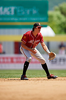 Altoona Curve shortstop Cole Tucker (3) during a game against the Binghamton Rumble Ponies on June 14, 2018 at NYSEG Stadium in Binghamton, New York.  Altoona defeated Binghamton 9-2.  (Mike Janes/Four Seam Images)