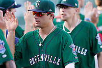 Second baseman Nick Yorke (4) of the Greenville Drive celebrates with teammates after a win against the Hickory Crawdads on Sunday, August 29, 2021, at Fluor Field at the West End in Greenville, South Carolina. (Tom Priddy/Four Seam Images)