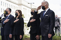 From left to right: United States Army General Mark A. Milley, Chairman of the Joint Chiefs of Staff; second gentleman Douglas Emhoff; US Vice President Kamala Harris; first lady Dr. Jill Biden; and US President Joe Biden salute as they attend a wreath laying ceremony at National 9/11 Memorial at the Pentagon in Washington on September 11, 2021. <br /> CAP/MPI/RS<br /> ©RS/MPI/Capital Pictures