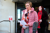 Pictured: DC Emma Warner-Brindley reads a statement on behalf of the family of John 'Jack' Williams, outside Swansea Crown Court, in Wales, UK. Thursday 01 November 2018<br /> Re: Jonathan Donne, a convicted killer who murdered 67 year old John 'Jack' Williams after robbing him in his own home has been jailed for life by Swansea Crown Court.<br /> Donne, 42, from Swansea, was found guilty of the robbery and murder.<br /> Mr Williams was tied up and battered in the living room of his Swansea home in March 2018 because Donne thought he had a large quantity of drugs and money.<br /> He was told he must serve at least 31 years before he can be released from prison.<br /> He was also given a 15 year sentence for robbery, which will be served concurrently.<br /> Donne went to Mr Williams's house because he needed money where he hit and tied Mr Williams up, but insisted he was alive when he left.<br /> Mr Williams suffered serious brain and head injuries in the attack.<br /> The victim had been growing and selling cannabis and Donne thought he would have drugs and cash he could steal.