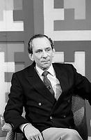 Le duo d'animateurs de television Jean Cournoyer et Mathias Rioux,  Avril 1984<br /> <br /> <br /> <br /> PHOTO :   agence Quebec Presse - Pierre Roussel