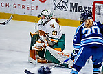 1 December 2018: University of Vermont Catamount Goaltender Melissa Black, a Senior from Newmarket, Ontario, makes a first period save against the University of Maine Black Bears at Gutterson Fieldhouse in Burlington, Vermont. The Lady Cats defeated the Lady Bears 3-2 in the second game of their 2-game Hockey East series. Mandatory Credit: Ed Wolfstein Photo *** RAW (NEF) Image File Available ***