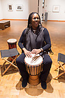 January 18, 2018; Nicole Williams, from Rhythm To You, teaches the technique of hand drumming in a unifying drum circle with members of the community at the Snite Museum. The event was part of a series of events on campus to honor the life and legacy of Dr. Martin Luther King. (Photo by Barbara Johnston/University of Notre Dame)