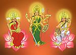 Hindu Goddess Durga with Goddess Lakshmi and Goddess Saraswati