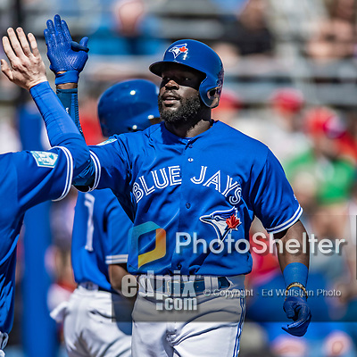 6 March 2019: Toronto Blue Jays outfielder Anthony Alford comes in to score during a Spring Training game against the Philadelphia Phillies at Dunedin Stadium in Dunedin, Florida. The Blue Jays defeated the Phillies 9-7 in Grapefruit League play. Mandatory Credit: Ed Wolfstein Photo *** RAW (NEF) Image File Available ***