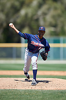 Minnesota Twins Eduardo Del Rosario (63) during a minor league Spring Training game against the Baltimore Orioles on March 17, 2017 at the Buck O'Neil Baseball Complex in Sarasota, Florida.  (Mike Janes/Four Seam Images)