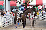 August 18, 2021: #2 Gibralfaro (IRE) ridden by Graham Watters in the post parade before the start of the Grade 1 Jonathan Sheppard Handicap at Saratoga Race Course in Saratoga Springs, N.Y. on August 18, 2021. <br /> Robert Simmons/Eclipse Sportswire/CSM