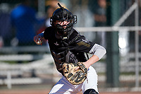 Corbin Harrison during the Under Armour All-America Pre-Season Tournament, powered by Baseball Factory, on January 19, 2019 at Sloan Park in Mesa, Arizona.  Corbin Harrison is a catcher / right handed pitcher from Eldon, Missouri who attends Eldon High School.  (Mike Janes/Four Seam Images)