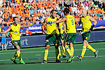 The Hague, Netherlands, June 13: Jeremy Hayward #32 of Australia is congratulated by teammates during the field hockey semi-final match (Men) between Australia and Argentina on June 13, 2014 during the World Cup 2014 at Kyocera Stadium in The Hague, Netherlands. Final score 5-1 (3-0)  (Photo by Dirk Markgraf / www.265-images.com) *** Local caption *** Kieran Govers #27 of Australia, Jeremy Hayward #32 of Australia, Mark Knowles #9 of Australia, Robert Hammond #6 of Australia