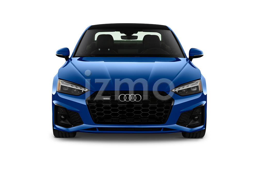 Car photography straight front view of a 2020 Audi A5-Coupe Premium-plus 2 Door Coupe Front View