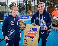 Netherlands, September 6,  2020, Amsterdam, Padel Dam, NK Padel, National Padel Championships, Womans doubles winners:  Tess van Dinteren (NED) and Milou Ettekoven (NED) (L)<br /> Photo: Henk Koster/tennisimages.com