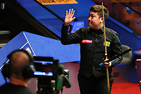 18th April 2021; Crucible Theatre, Sheffield, England; Betfred Snooker World Championships; China's Yan Bingtao reacts after winning the first round match with England s Martin Gould