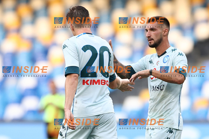 Piotr Zielinski of SSC Napoli celebrates with team mates after scoring a goal<br /> during the friendly football match between SSC Napoli and Pescara Calcio 1936 at stadio San Paolo in Napoli, Italy, September 11, 2020. <br /> Photo Cesare Purini / Insidefoto