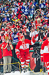 31 December 2013: Former Detroit Red Wings forward Mickey Redmond (20) waves to fans with his stick as he is introduced before the Toronto Maple Leafs v Detroit Red Wings Alumni Showdown hockey game, at Comerica Park, in Detroit, MI.