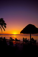 Resort beach patio at sunset, Roratonga, Cook Islands.