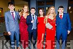 Oisin Nolan, Abbie Casey, Mark Hickey, Sinead Murphy, Amy Pollmann and Ronan Lucey attending the Gaelcoláiste Chiarraí Debs in the Ballyroe Heights Hotel on Thursday night
