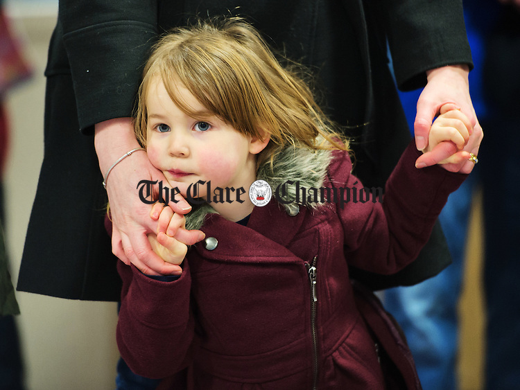 Ellie May Lodge holds her mother Caroline's hands at the launch of the Hurley Hoey, 10km Run/Jog/Walk which takes place on Saturday March 8th at 12noon from the Doora Barefield GAA complex at Gurteen. Photograph by John Kelly.