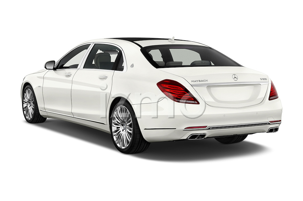 Car pictures of rear three quarter view of2016 Mercedes Benz S Class May Bach 4 Door Sedan Angular Rear