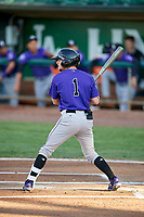 Hunter Stovall (1) of the Grand Junction Rockies bats during a game against the Ogden Raptors at Lindquist Field on September 7, 2018 in Ogden, Utah. The Rockies defeated the Raptors 8-5. (Stephen Smith/Four Seam Images)